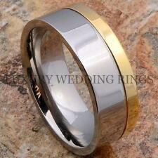 Men's Titanium Ring 14K Gold Wedding Band Two Tone Bridal Jewelry LWR Size 6-13