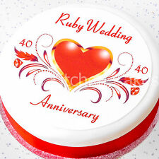 Ruby Wedding Anniversary Cake Topper Ruby Wedding Round Square - Icing / Wafer