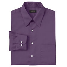 New Arrow Men's Classic-Fit Sateen Point-Collar Dress Shirt Purple MSRP $45