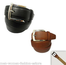 New Mens Black Brown Dress Casual Leather Belt 1Prong Buckle 34-36, 38-40, 42-44