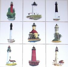 Light House Ceramic Tile Accent #2 Cape Neddick Portland Head Tybee Island 4.25""