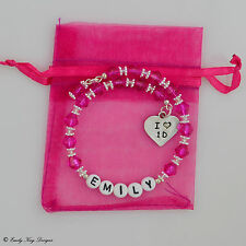 Girls 1D One Direction Turquoise/Fuschia Personalised Bracelet Christmas  Gift