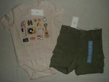 BABY GAP Olive Green Cargo Shorts Tan Picnic Wilderness Graphic Bodysuit Lot NWT