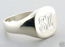 Monogram Engraved Man's Signet Ring, 2 Initials, Sterling Silver, Sz 9, 10, 11
