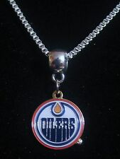 EDMONTON OILERS HOCKEY SPORTS SILVER BOX CHAIN NECKLACE PENDANT CHARM USA SELLER