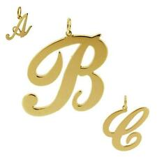 9CT GOLD PLATED ON 925 SILVER ANY INITIAL LETTER DROP PENDANT SMALL MEDIUM LARGE