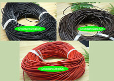 1.5 or 2mm High Quality Round Cord Real Leather String Lace Thong Jewellery
