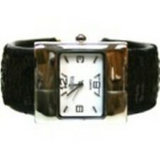 Women's Cuff Fashion Watch by Geneva Rectangle Face Silver Tone Black Sequins