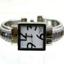 Women's Cuff Fashion Watch by Geneva Square Face Silver Tone Silver Sequins