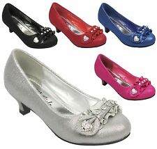 NEW Kids Girls Glitter Rhinestone Bow Dorothy Pump Low Kitten Heel Shoe Size 9-4