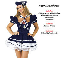 Sweetheart Sailor Girl Fancy Dress Costume Nautical Navy Outfit Halloween Party