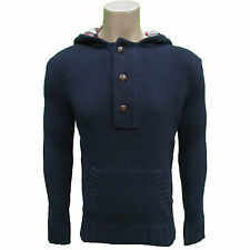 MENS NAVY BRAVE SOUL  THICK KNITTED HOODED JUMPER  ONLY SIZE S LEFT GOOD PRICE