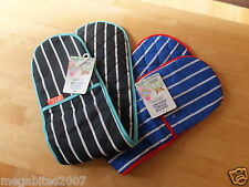 Quilted Double Oven Gloves Mitts  100% Cotton Navy/ Royal Blue Striped