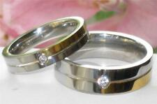 MENS OR WOMENS SIMULATED DIAMOND WEDDING BAND RING STEEL 4mm or  7MM  STR168