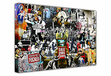 LARGE BANKSY CANVAS COLLAGE PRINTS / WALL ART GRAFFITI BEST OF BANKSY COLLECTION