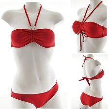 NWT Sexy RED Two Piece Convertible Halter Bandeau Bikini Embellished Charms M L