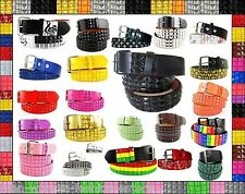 Unisex 3-Row Metal Pyramid Studded Leather Belt Mens Womens Punk Rock Goth Emo