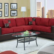 Microfiber Sofa couch Sectional Sofa Red Sectional Couch 2 Pc Living room #F7638