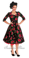 HELL BUNNY Black Red ~ETeRNiTY~ 50s Vintage Rose Sleeved Dress 6-24 XS-4XL