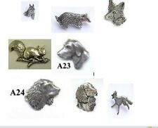 pewter pin badges idea for bags caps scarfs tie coat horse fox dog animals cat