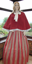 VICTORIAN LADY GENTRY 2 PIECE COSTUME FANCY DRESS (Burgundy Red / Multi Striped)