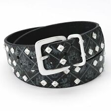 New Helix Pyramid Stud Leather Belt 1.5 Wide Black Strap with White Buckle