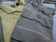 IZOD MEN'S POLO PULLOVER SHIRT YELLOW SZ L. OR BEIGE W/NAVY & WHITE STRIPES