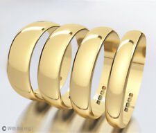 9ct Yellow Gold Wedding Rings D-Shaped Band Full Hallmark Half sizes Available