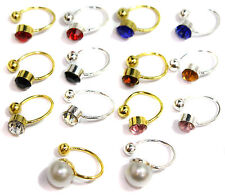 Crystal Stud U CLIP On Clipon Earrings Non Piercing for Ears Nose Lip Cartilage