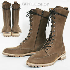 Men's Shose High top Light Brown Leather Long Boots Handmade 3557, GENTLERSHOP