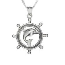 "Sterling Silver Dolphin w/ Ship Wheel Pendant / Charm, Made USA, 18"" Box Chain"