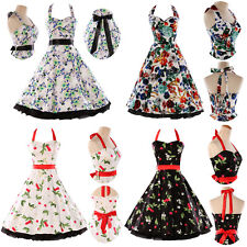 New Vintage 50s 60s Halter Floral Pinup Rockabilly Swing Prom Retro Style Dress