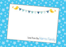 10 Personalised Baby Boy Thank You or Birth Announcement cards-4 designs