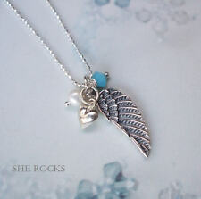 DESIGNER 925 STERLING SILVER ANGEL WING NECKLACE PERSONALISED BIRTHSTONE GIFT