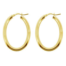 9CT GOLD PLATED 925 SILVER SMALL MEDIUM LARGE POLISHED OVAL HOOP CREOLE EARRINGS
