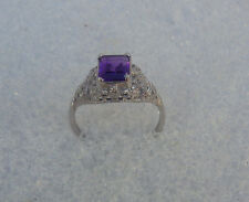 Amethyst Gemstone Purple Solitaire 8x6mm Emerald cut 925 Sterling Size 6  Ring