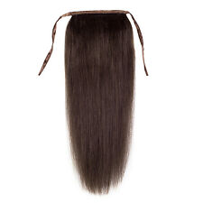 """16""""-24"""" high ponytail clip-on 100% real human hair extensions 2# darkest brown"""