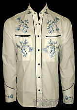 WHITE COWBOY ROCKABILLY LINE DANCING WESTERN STYLE EMBROIDERED SHIRT  Sm - XXL