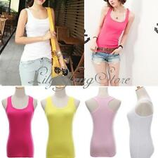 Women Seamless Ribbed Racer Back Stretch Tank Top Workout Yoga Cami Tee Sports