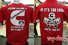 Cummins T shirt RED all sizes Dodge Truck S-2XL Pistons Diesel FRONT & BACK
