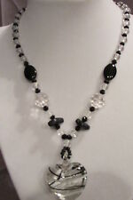BEAUTIFUL BLACK & CLEAR CRYSTAL GLASS AND BLACK ENAMEL CHOKER NECKLACE 16 IN.