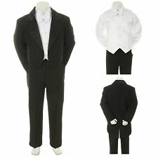 Baby Toddler Boys Kids Black White Vest Wedding Formal Tuxedo Tail Boy Suit S-20