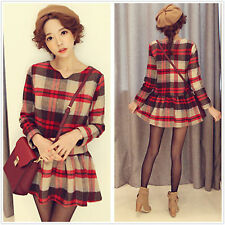 British Retro Preppy Plaid Woolen V Neck Pleated Tutu Skirt Mini Dress Waisted