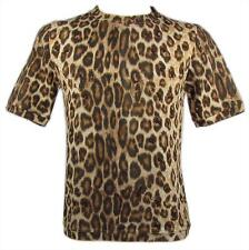 "ROBERTO CAVALLI ""Wild Leopard"" mens r-neck t-shirt top animal (brown) NEW"