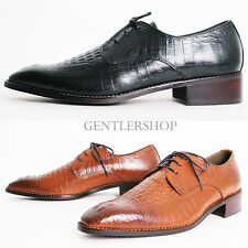 Mens Fashion Shoes Crocodile Pattern Leather Oxfords Handmade 5079, GENTLERSHOP