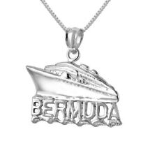 "Sterling Silver BERMUDA CRUISE SHIP Pendant / Charm, Made in USA, 18"" Box Chain"