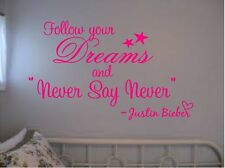 JUSTIN BIEBER QUOTE FOLLOW YOUR DREAMS VINYL WALL DECAL QUOTE SAYINGS KIDS ROOM