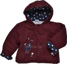 Baby Boy Snug & Cosy Reach for the Stars Rocket Hooded Jacket Burgundy 6-23month
