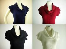 WOMEN SEXY SHORT SLEEVE SWEATER KNIT COWL NECK TUNIC TOP DRESS 4 COLORS