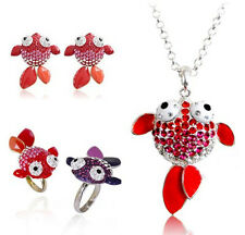 Lovely crystal goldfish fish necklace earrings ring bracelet multiple choices